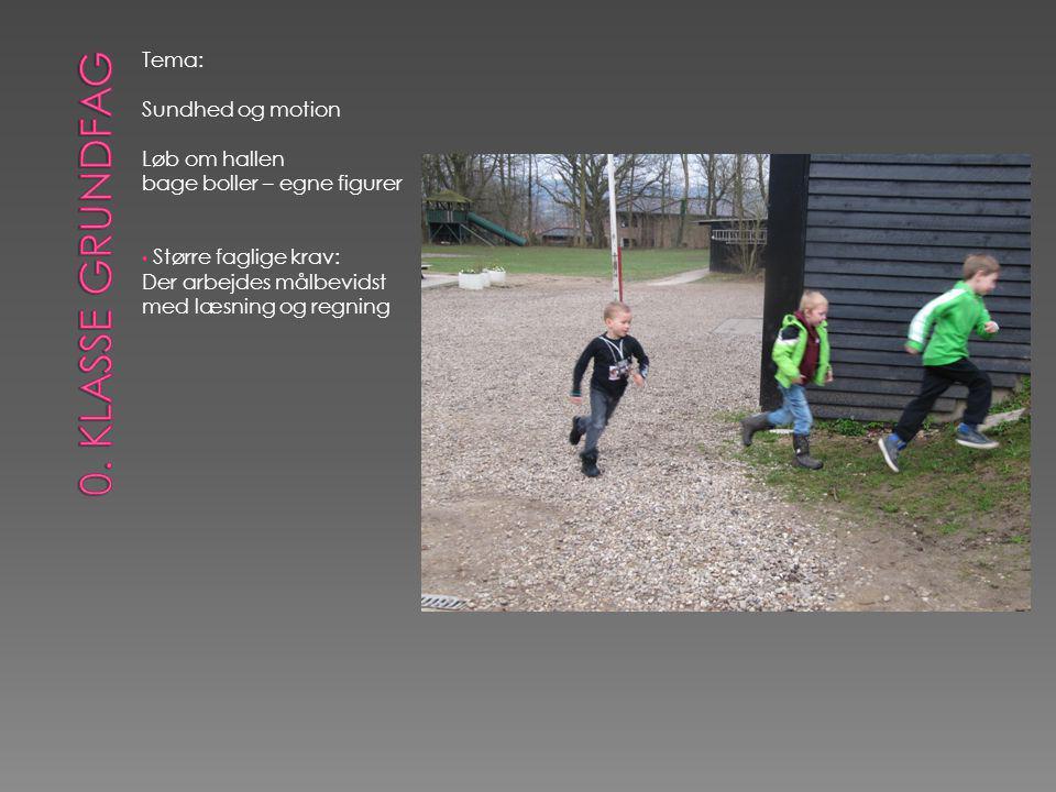 Tema: Sundhed og motion Løb om hallen bage boller – egne figurer • Større faglige krav: Der arbejdes målbevidst med læsning og regning
