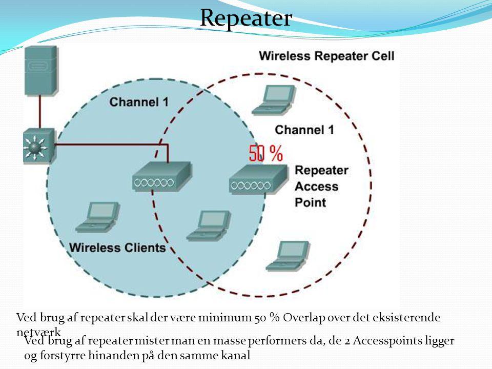 Ved brug af repeater skal der være minimum 50 % Overlap over det eksisterende netværk Ved brug af repeater mister man en masse performers da, de 2 Accesspoints ligger og forstyrre hinanden på den samme kanal Repeater