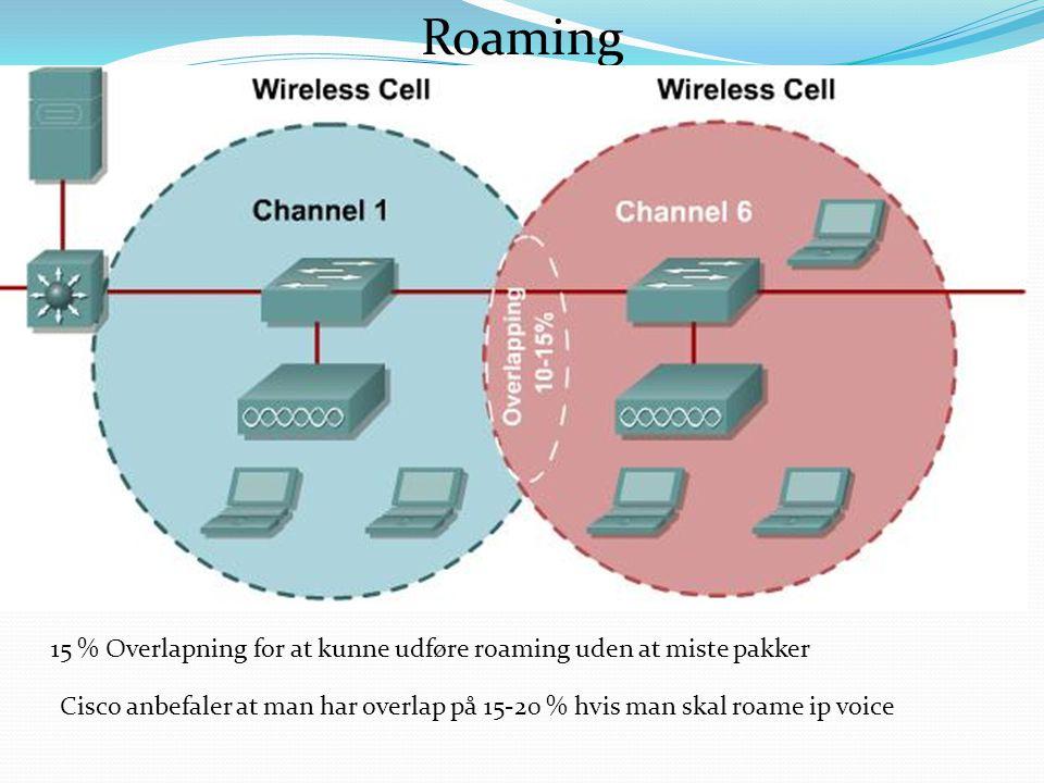 Roaming 15 % Overlapning for at kunne udføre roaming uden at miste pakker Cisco anbefaler at man har overlap på 15-20 % hvis man skal roame ip voice