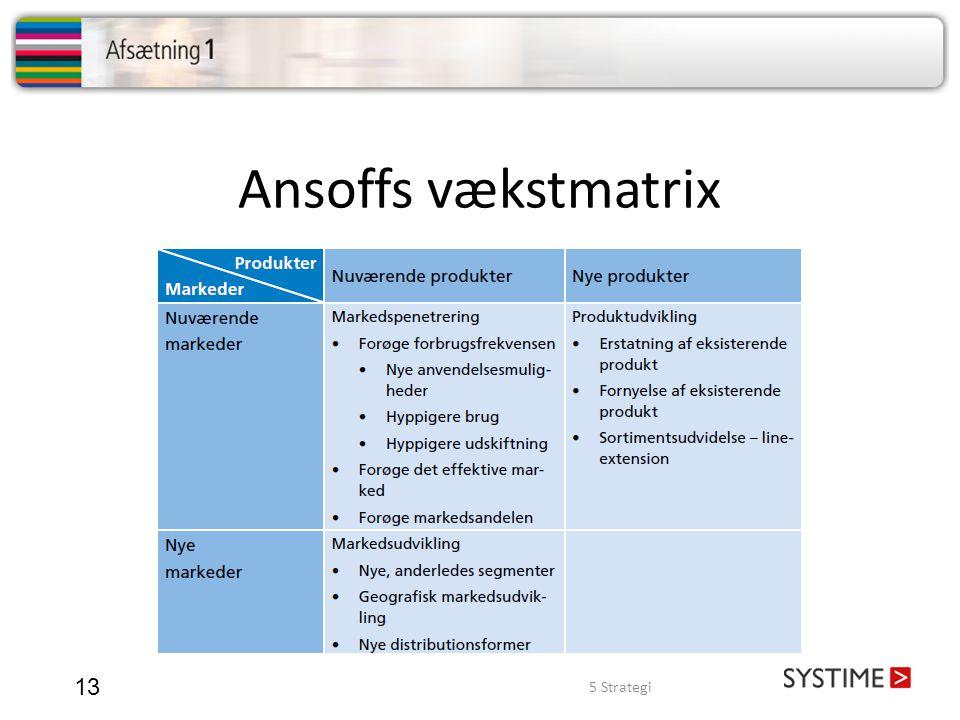 Ansoffs vækstmatrix 5 Strategi 13