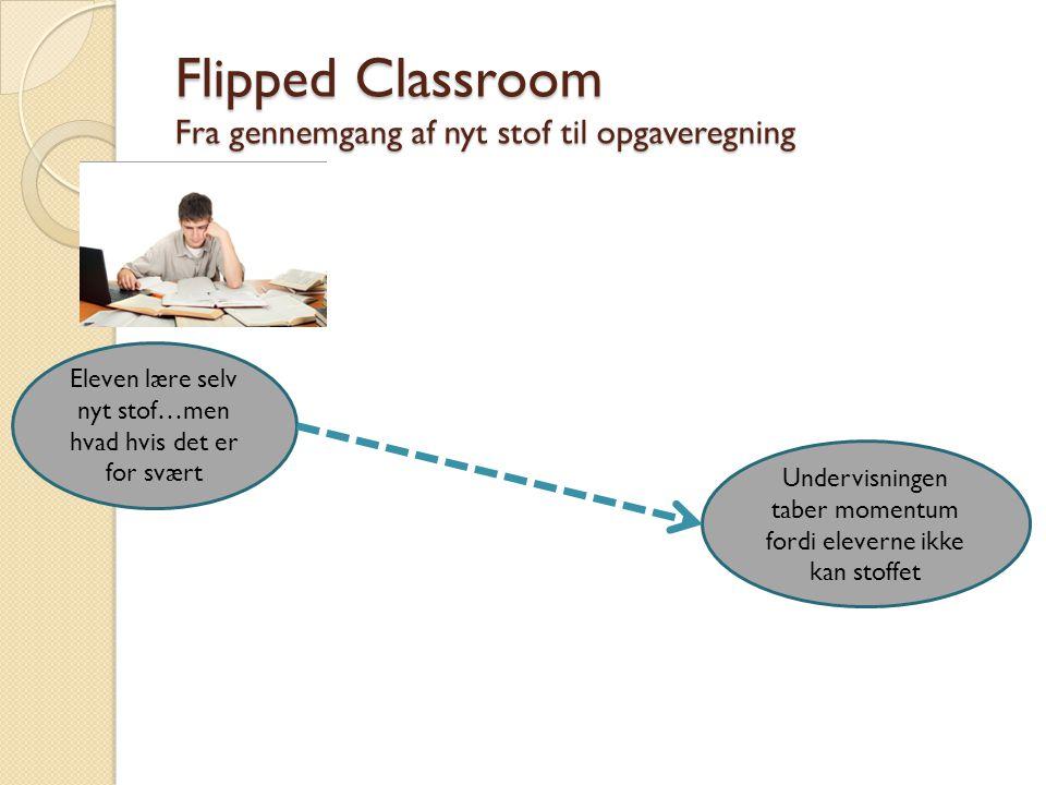 Flipped Classroom Fra gennemgang af nyt stof til opgaveregning Eleven lære selv nyt stof…men hvad hvis det er for svært Undervisningen taber momentum fordi eleverne ikke kan stoffet