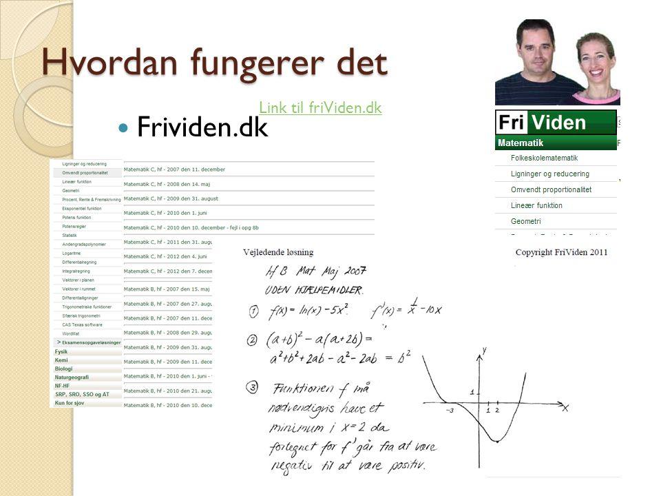Hvordan fungerer det  Frividen.dk Link til friViden.dk