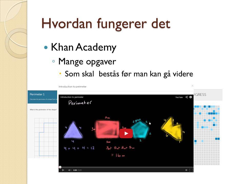 Hvordan fungerer det  Khan Academy ◦ Mange opgaver  Som skal bestås før man kan gå videre