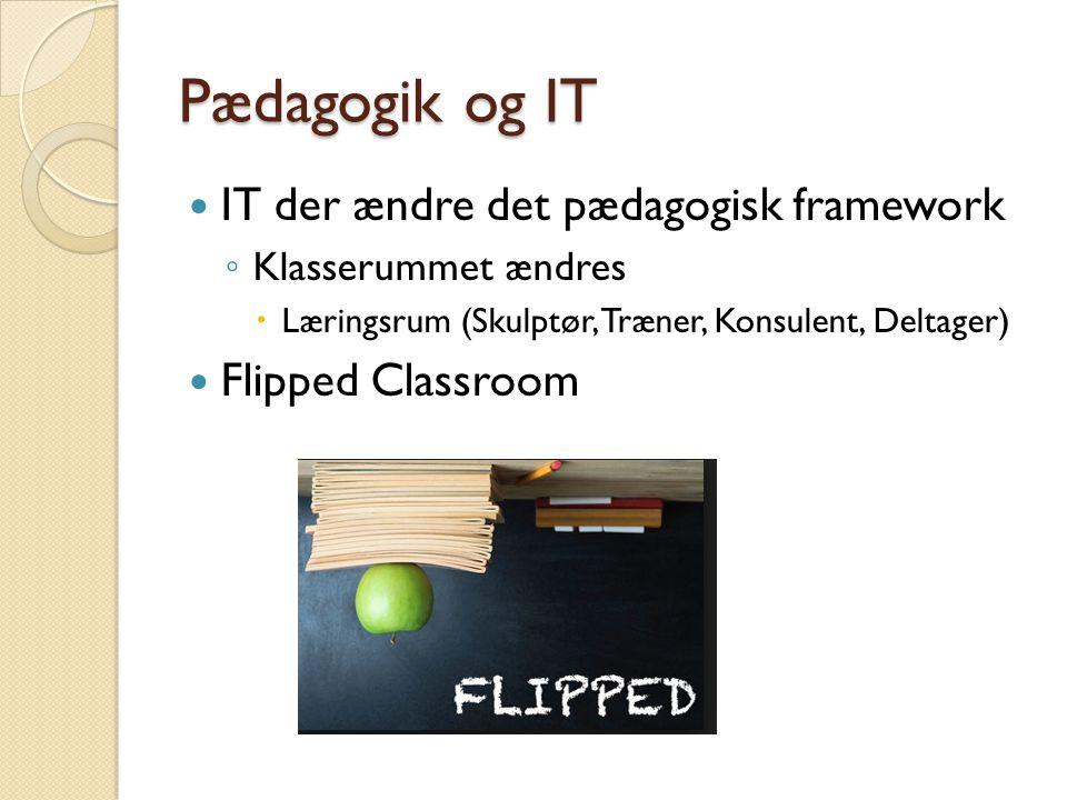 Pædagogik og IT  IT der ændre det pædagogisk framework ◦ Klasserummet ændres  Læringsrum (Skulptør, Træner, Konsulent, Deltager)  Flipped Classroom