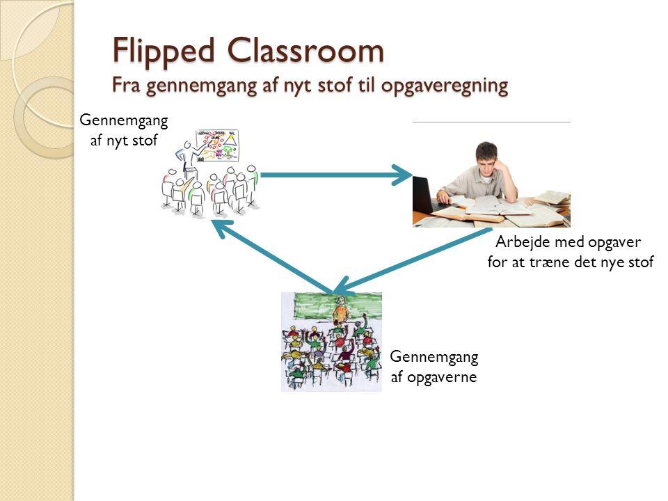 Flipped Classroom Fra gennemgang af nyt stof til opgaveregning Gennemgang af nyt stof Arbejde med opgaver for at træne det nye stof Gennemgang af opgaverne