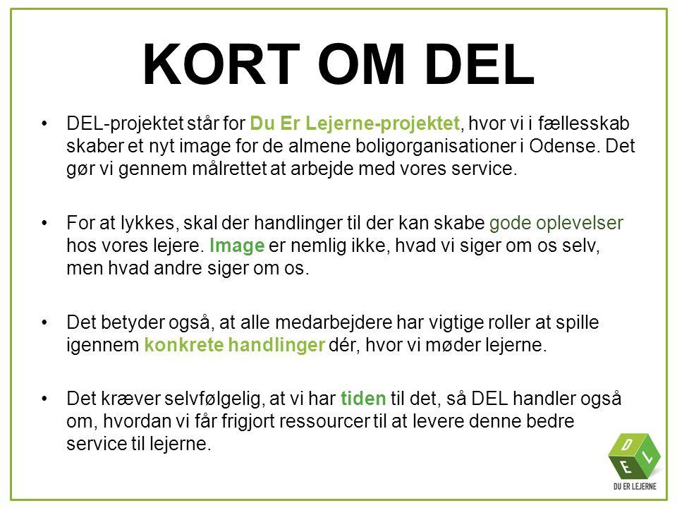 KORT OM DEL •DEL-projektet står for Du Er Lejerne-projektet, hvor vi i fællesskab skaber et nyt image for de almene boligorganisationer i Odense. Det
