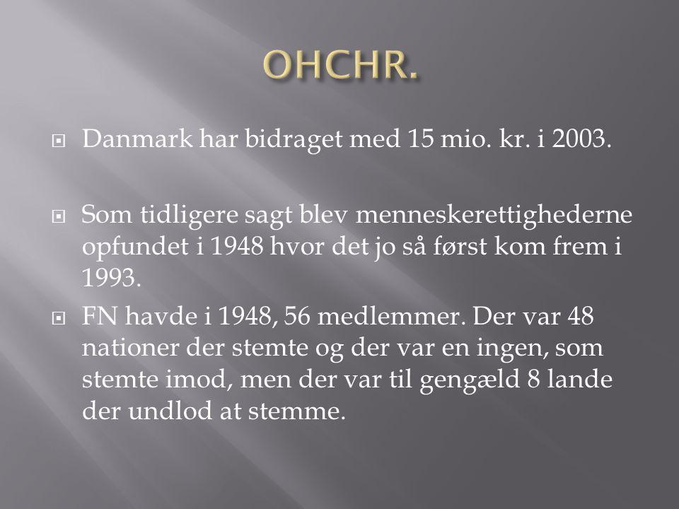  Danmark har bidraget med 15 mio. kr. i 2003.