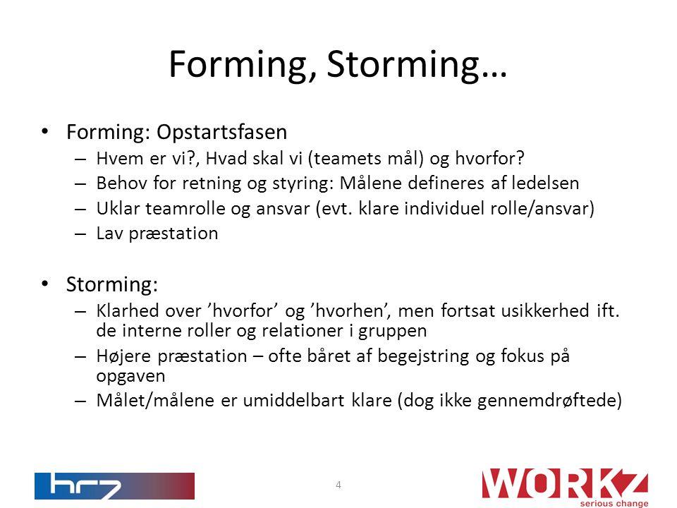 • Forming: Opstartsfasen – Hvem er vi?, Hvad skal vi (teamets mål) og hvorfor.