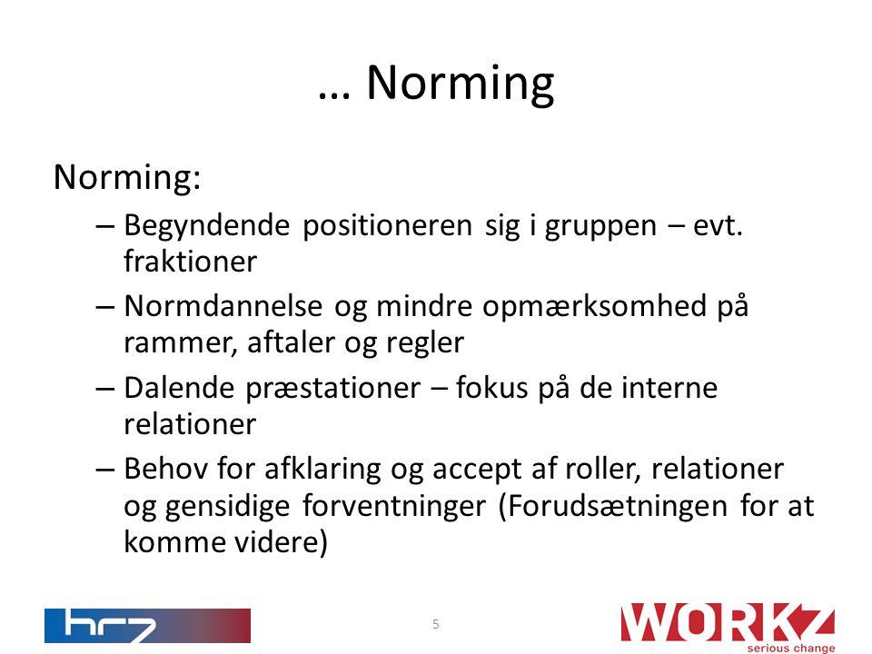 Norming: – Begyndende positioneren sig i gruppen – evt.