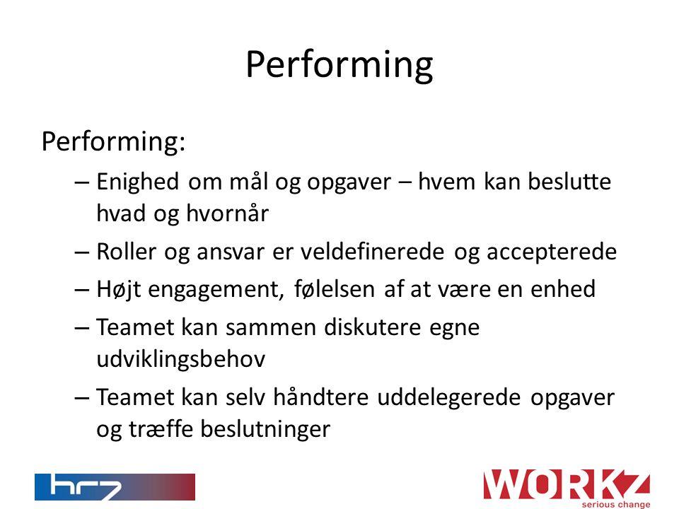 Performing Performing: – Enighed om mål og opgaver – hvem kan beslutte hvad og hvornår – Roller og ansvar er veldefinerede og accepterede – Højt engagement, følelsen af at være en enhed – Teamet kan sammen diskutere egne udviklingsbehov – Teamet kan selv håndtere uddelegerede opgaver og træffe beslutninger