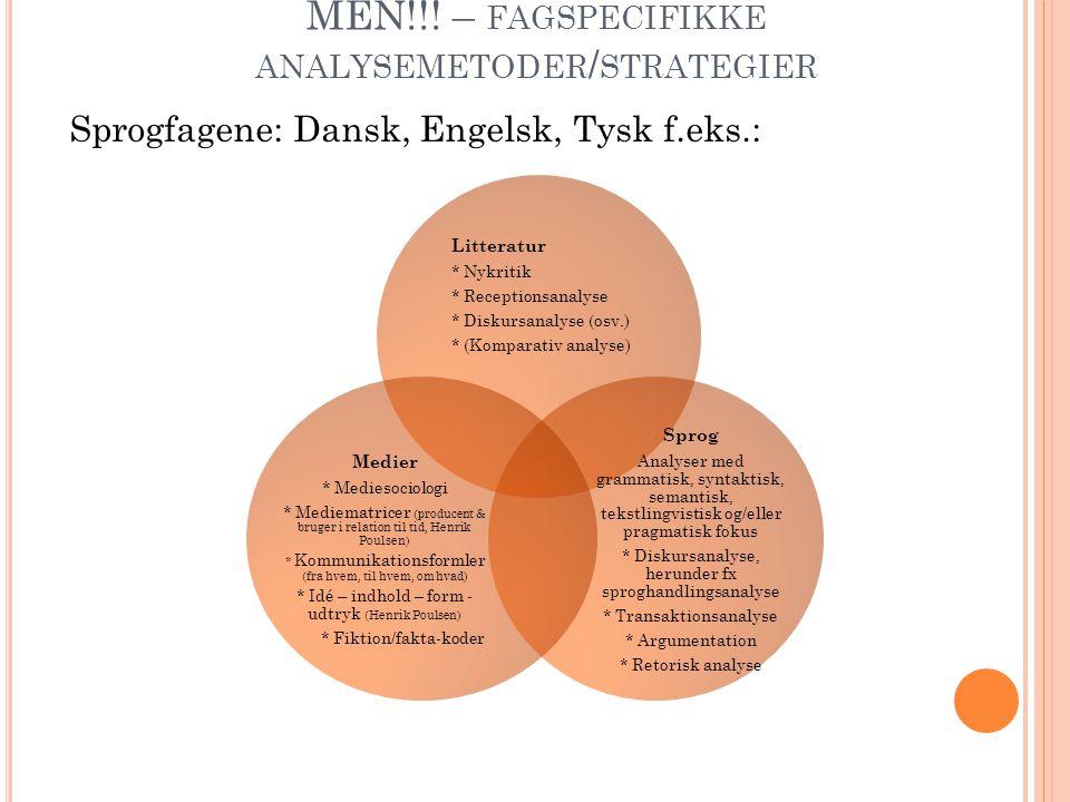 MEN!!! – FAGSPECIFIKKE ANALYSEMETODER / STRATEGIER Sprogfagene: Dansk, Engelsk, Tysk f.eks.: Litteratur * Nykritik * Receptionsanalyse * Diskursanalys