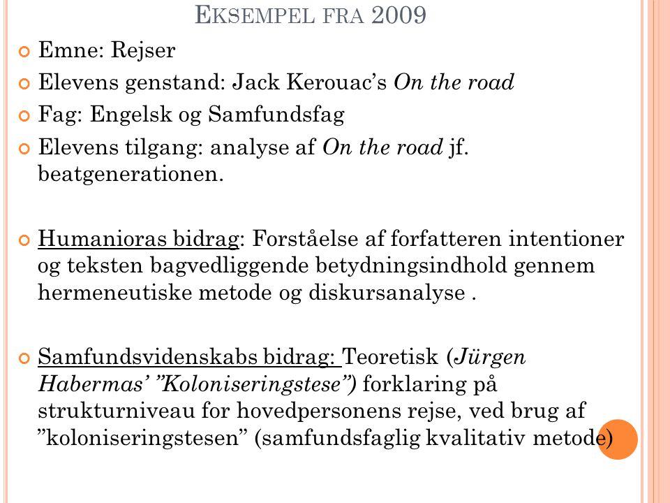 E KSEMPEL FRA 2009 Emne: Rejser Elevens genstand: Jack Kerouac's On the road Fag: Engelsk og Samfundsfag Elevens tilgang: analyse af On the road jf. b