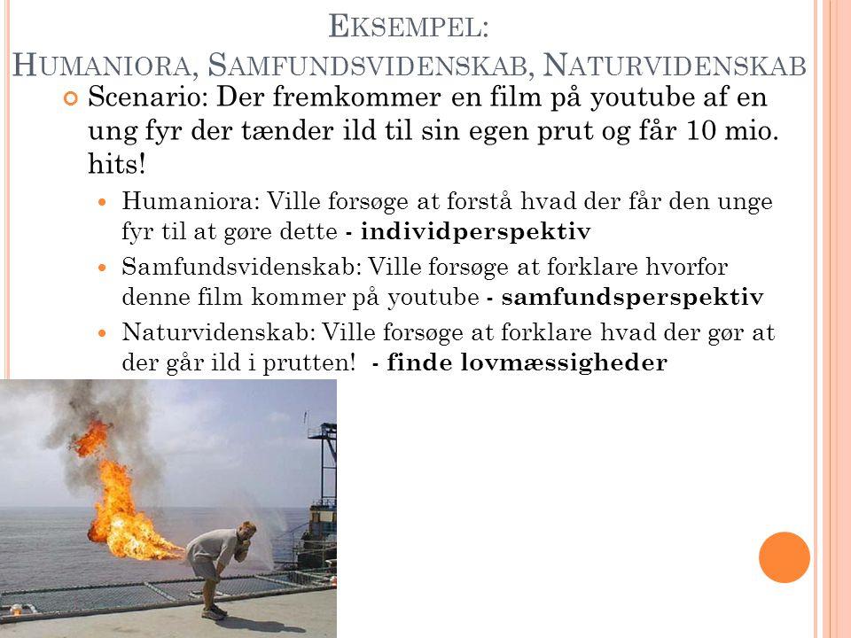 E KSEMPEL : H UMANIORA, S AMFUNDSVIDENSKAB, N ATURVIDENSKAB Scenario: Der fremkommer en film på youtube af en ung fyr der tænder ild til sin egen prut