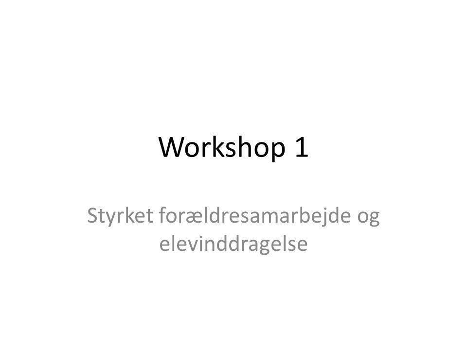 Workshop 1 Styrket forældresamarbejde og elevinddragelse