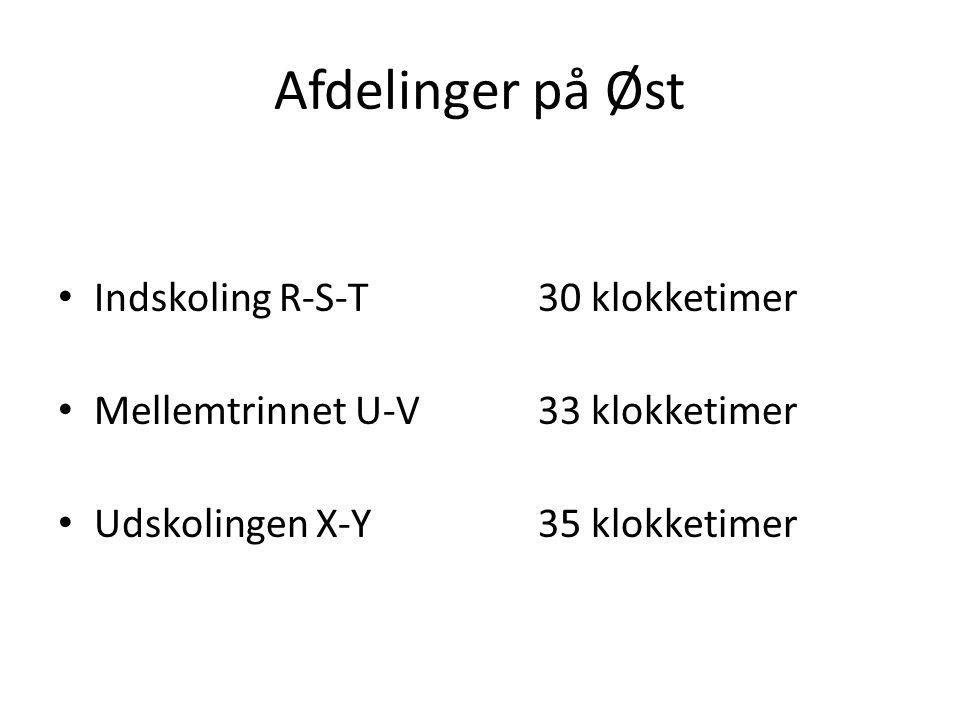 Afdelinger på Øst • Indskoling R-S-T30 klokketimer • Mellemtrinnet U-V33 klokketimer • Udskolingen X-Y35 klokketimer