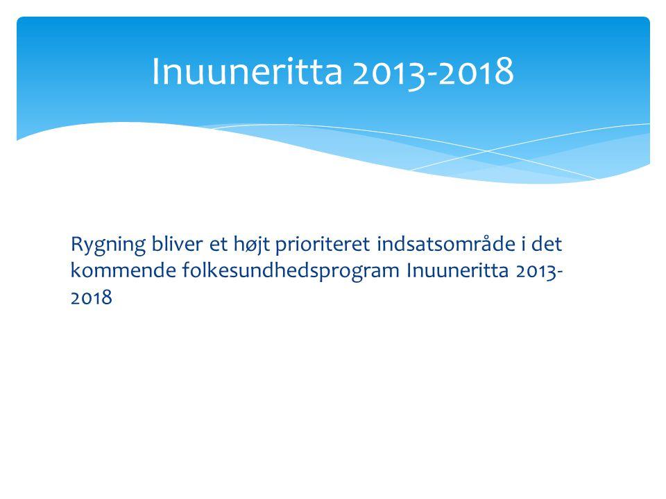 Rygning bliver et højt prioriteret indsatsområde i det kommende folkesundhedsprogram Inuuneritta 2013- 2018 Inuuneritta 2013-2018