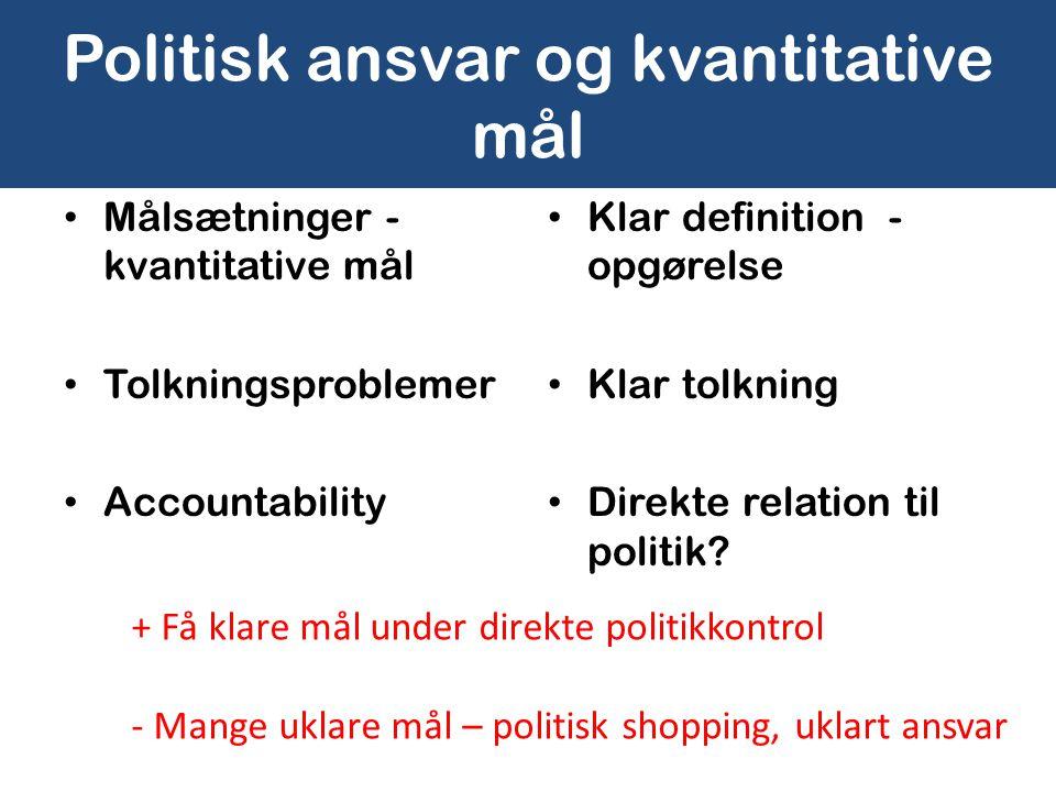 Politisk ansvar og kvantitative mål • Målsætninger - kvantitative mål • Tolkningsproblemer • Accountability • Klar definition - opgørelse • Klar tolkning • Direkte relation til politik.