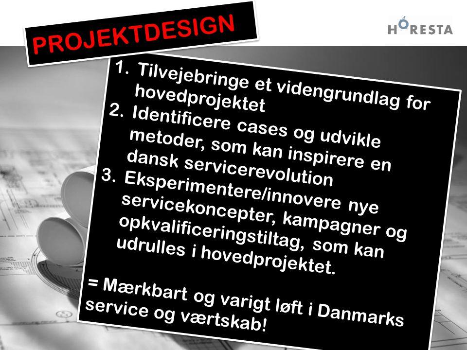 1.Tilvejebringe et videngrundlag for hovedprojektet 2.Identificere cases og udvikle metoder, som kan inspirere en dansk servicerevolution 3.Eksperimentere/innovere nye servicekoncepter, kampagner og opkvalificeringstiltag, som kan udrulles i hovedprojektet.