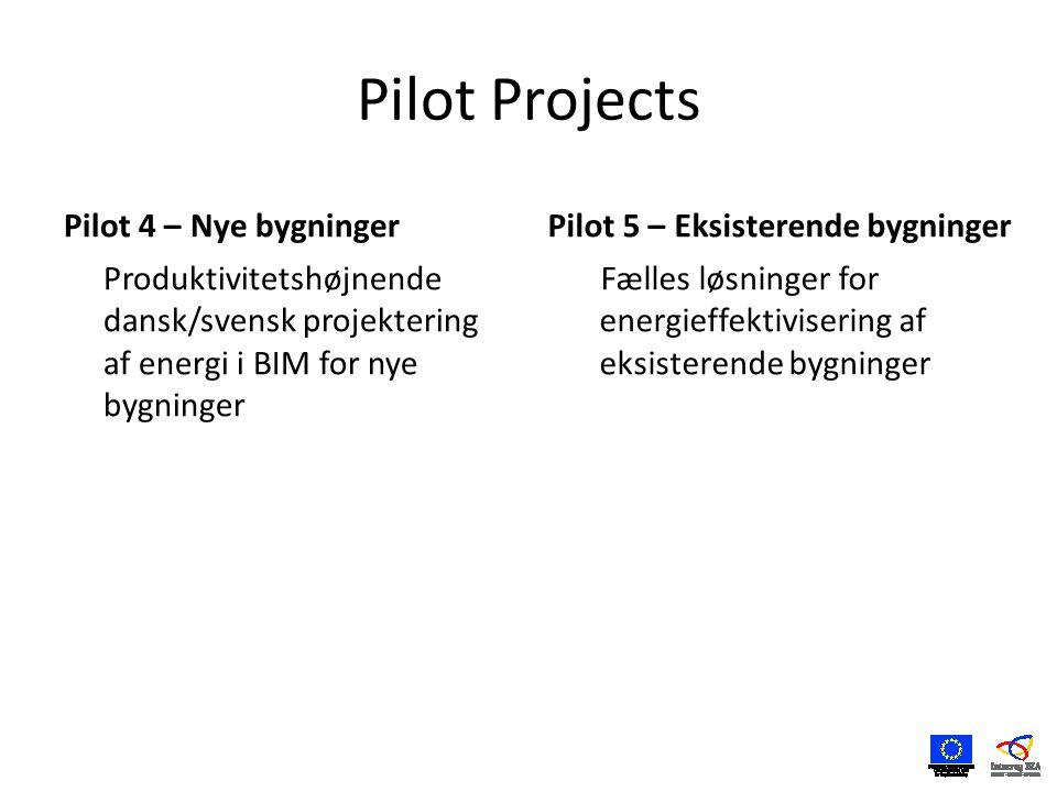 Pilot Projects Pilot 4 – Nye bygninger Produktivitetshøjnende dansk/svensk projektering af energi i BIM for nye bygninger Pilot 5 – Eksisterende bygninger Fælles løsninger for energieffektivisering af eksisterende bygninger