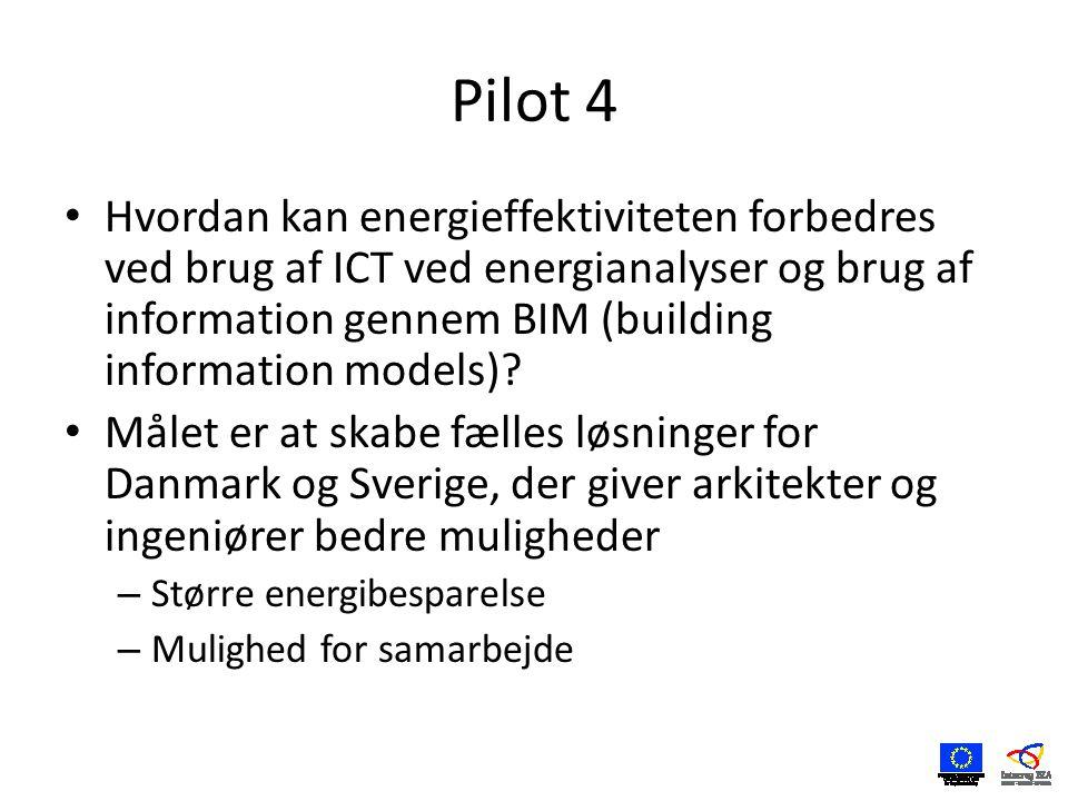 Pilot 4 • Hvordan kan energieffektiviteten forbedres ved brug af ICT ved energianalyser og brug af information gennem BIM (building information models).