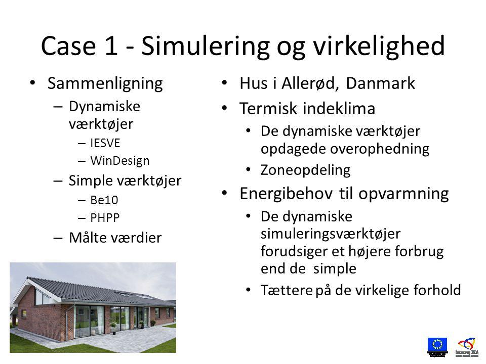 Case 1 - Simulering og virkelighed • Sammenligning – Dynamiske værktøjer – IESVE – WinDesign – Simple værktøjer – Be10 – PHPP – Målte værdier • Hus i Allerød, Danmark • Termisk indeklima • De dynamiske værktøjer opdagede overophedning • Zoneopdeling • Energibehov til opvarmning • De dynamiske simuleringsværktøjer forudsiger et højere forbrug end de simple • Tættere på de virkelige forhold