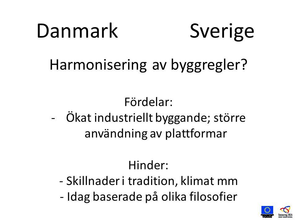 DanmarkSverige Harmonisering av byggregler.