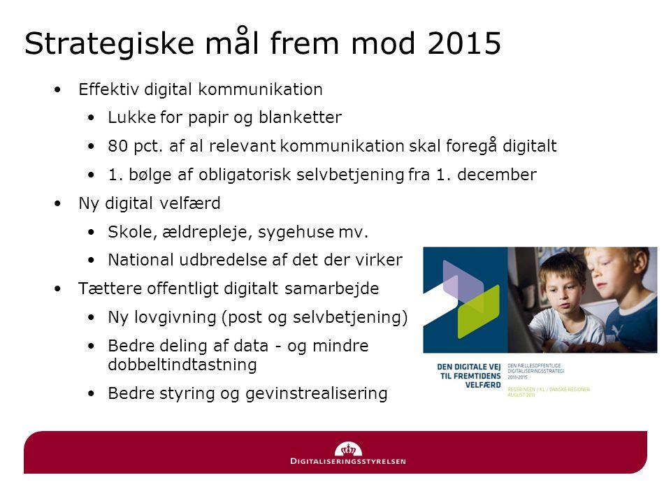 Strategiske mål frem mod 2015 •Effektiv digital kommunikation •Lukke for papir og blanketter •80 pct.