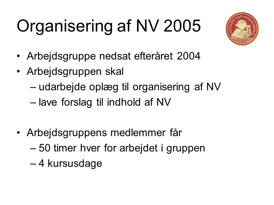 Organisering af NV 2005 •Arbejdsgruppe nedsat efteråret 2004 •Arbejdsgruppen skal –udarbejde oplæg til organisering af NV –lave forslag til indhold af NV •Arbejdsgruppens medlemmer får –50 timer hver for arbejdet i gruppen –4 kursusdage