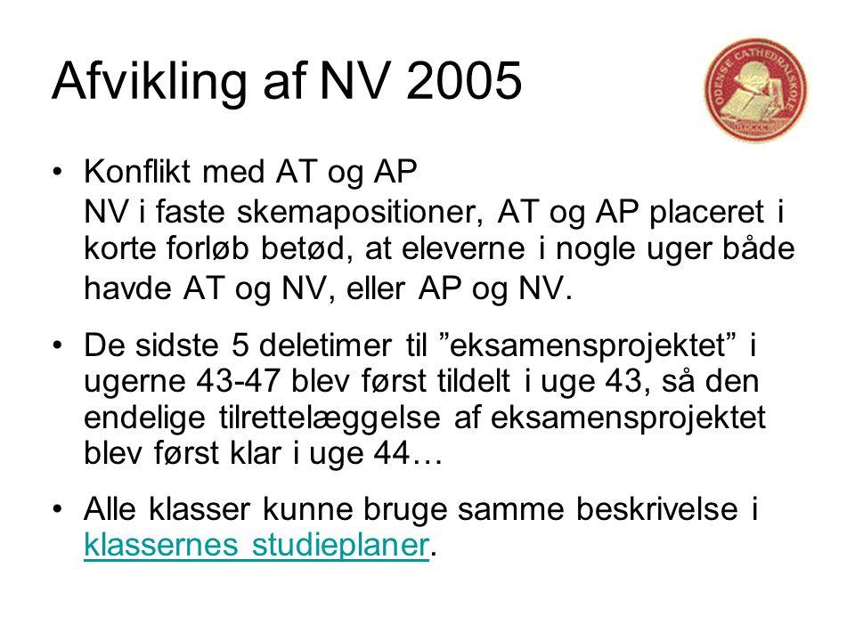 Afvikling af NV 2005 •Konflikt med AT og AP NV i faste skemapositioner, AT og AP placeret i korte forløb betød, at eleverne i nogle uger både havde AT og NV, eller AP og NV.