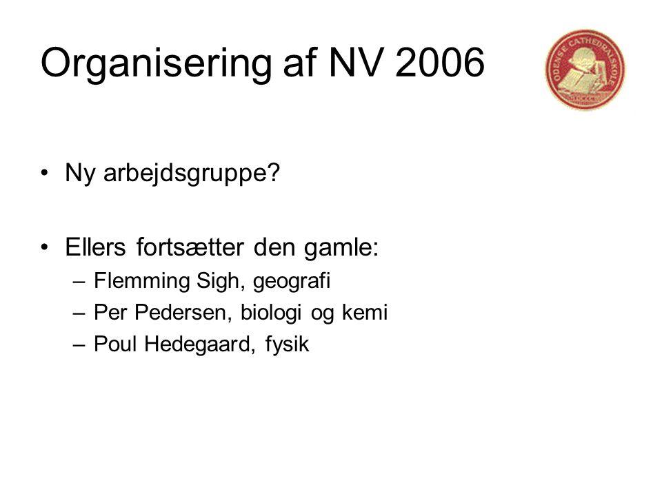 Organisering af NV 2006 •Ny arbejdsgruppe.