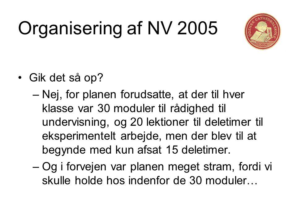 Organisering af NV 2005 •Gik det så op.