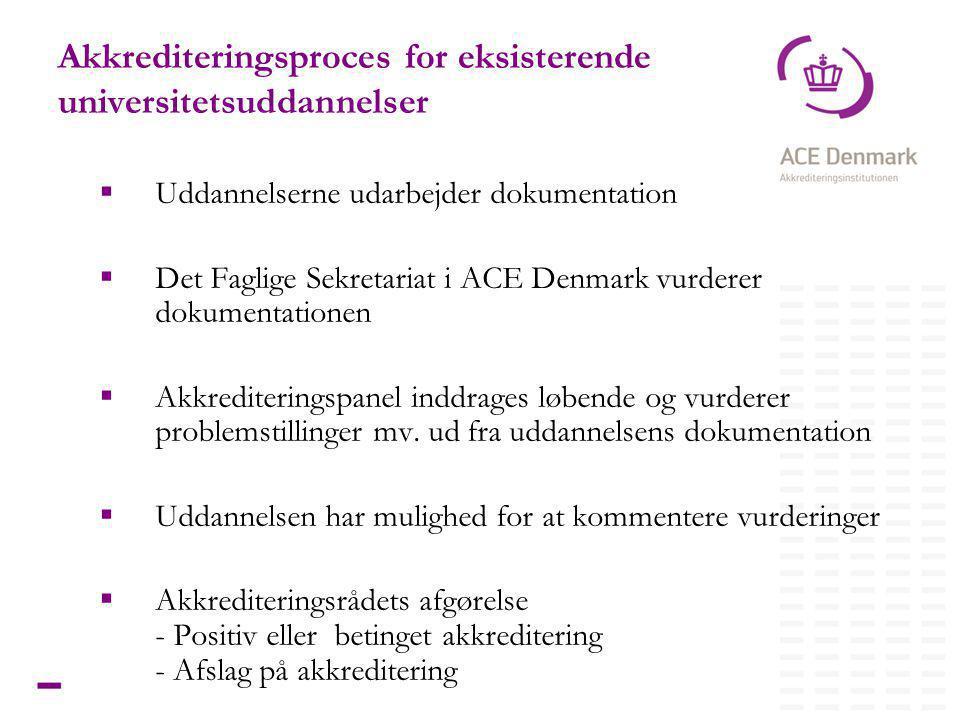 15Titel lorem ipsum dolor sit amet Akkrediteringsproces for eksisterende universitetsuddannelser  Uddannelserne udarbejder dokumentation  Det Faglige Sekretariat i ACE Denmark vurderer dokumentationen  Akkrediteringspanel inddrages løbende og vurderer problemstillinger mv.