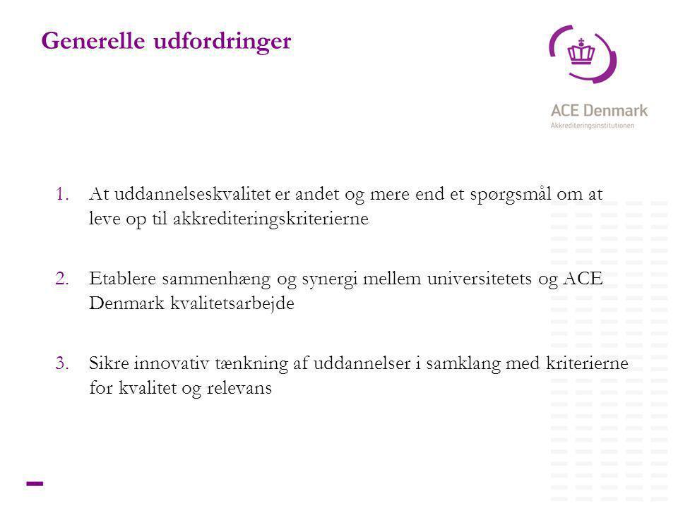 7Titel lorem ipsum dolor sit amet Generelle udfordringer 1.At uddannelseskvalitet er andet og mere end et spørgsmål om at leve op til akkrediteringskriterierne 2.Etablere sammenhæng og synergi mellem universitetets og ACE Denmark kvalitetsarbejde 3.Sikre innovativ tænkning af uddannelser i samklang med kriterierne for kvalitet og relevans