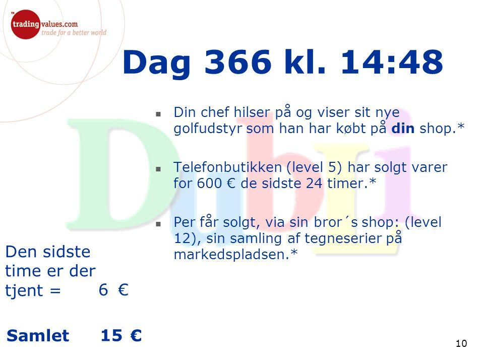 Den sidste time er der tjent = € Samlet € 10 Dag 366 kl.