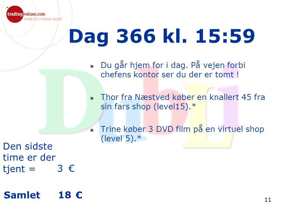 Den sidste time er der tjent = € Samlet € 11 Dag 366 kl.