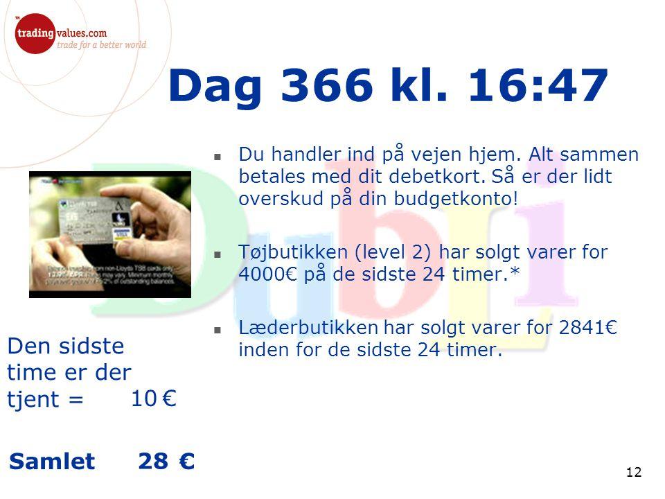 Den sidste time er der tjent = € Samlet € 12 Dag 366 kl.