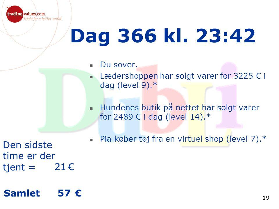 Den sidste time er der tjent = € Samlet € 19 Dag 366 kl.