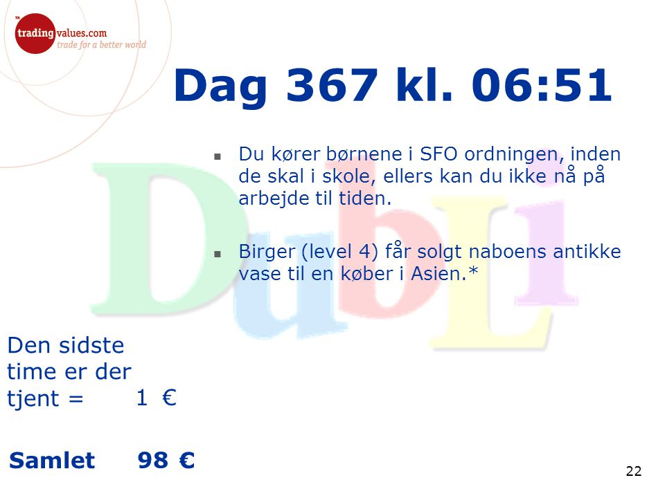 Den sidste time er der tjent = € Samlet € 22 Dag 367 kl.