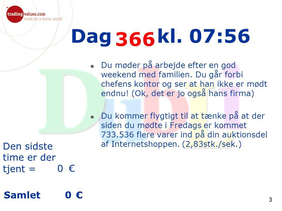 Den sidste time er der tjent = € Samlet € 3 Dag kl.