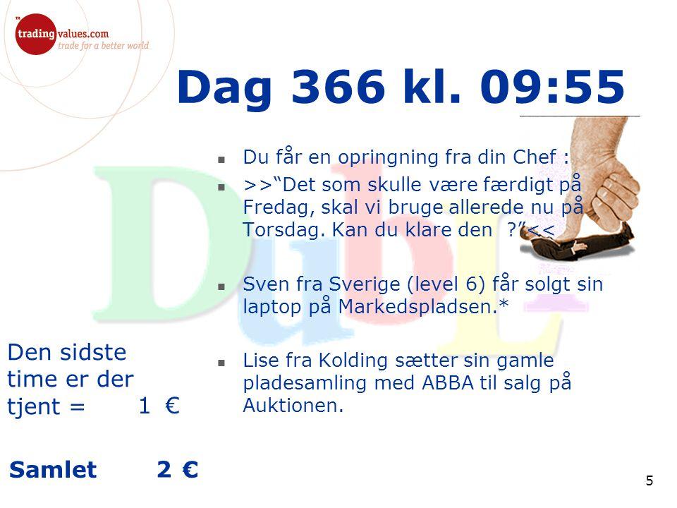 Den sidste time er der tjent = € Samlet € 5 Dag 366 kl.