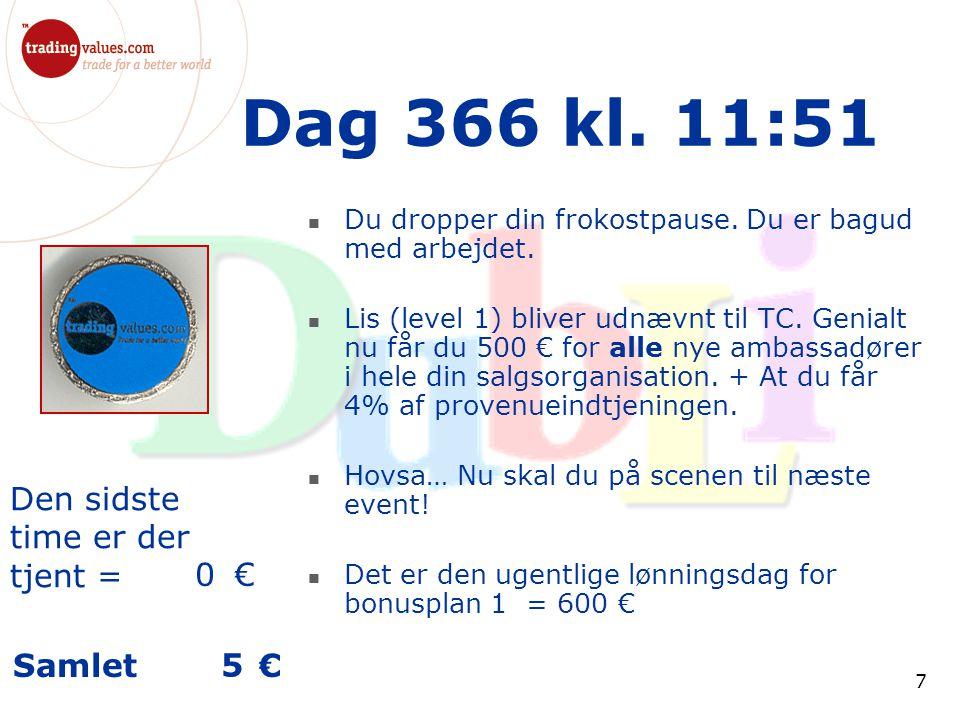 Den sidste time er der tjent = € Samlet € 7 Dag 366 kl.