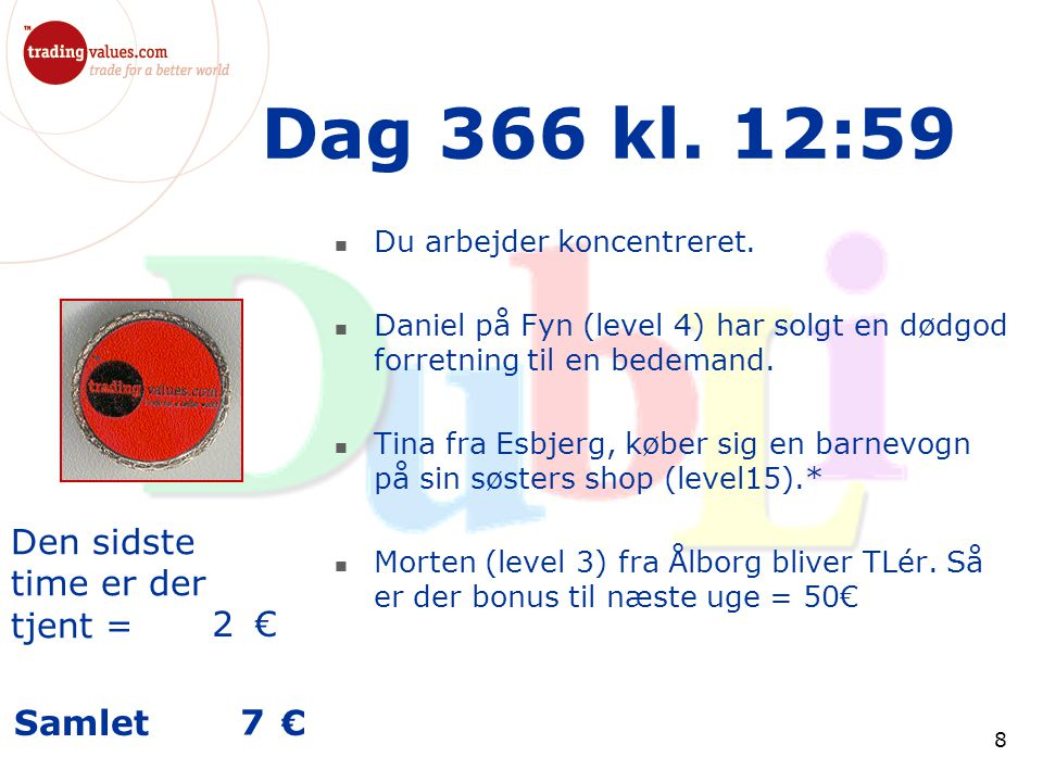 Den sidste time er der tjent = € Samlet € 8 Dag 366 kl.