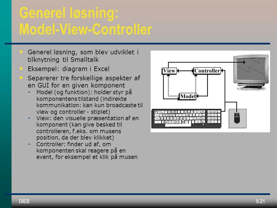 DIEB9.21 Generel løsning: Model-View-Controller • Generel løsning, som blev udviklet i tilknytning til Smalltalk • Eksempel: diagram i Excel • Separerer tre forskellige aspekter af en GUI for en given komponent  Model (og funktion): holder styr på komponentens tilstand (indirekte kommunikation: kan kun broadcaste til view og controller - stiplet)  View: den visuelle præsentation af en komponent (kan give besked til controlleren, f.eks.
