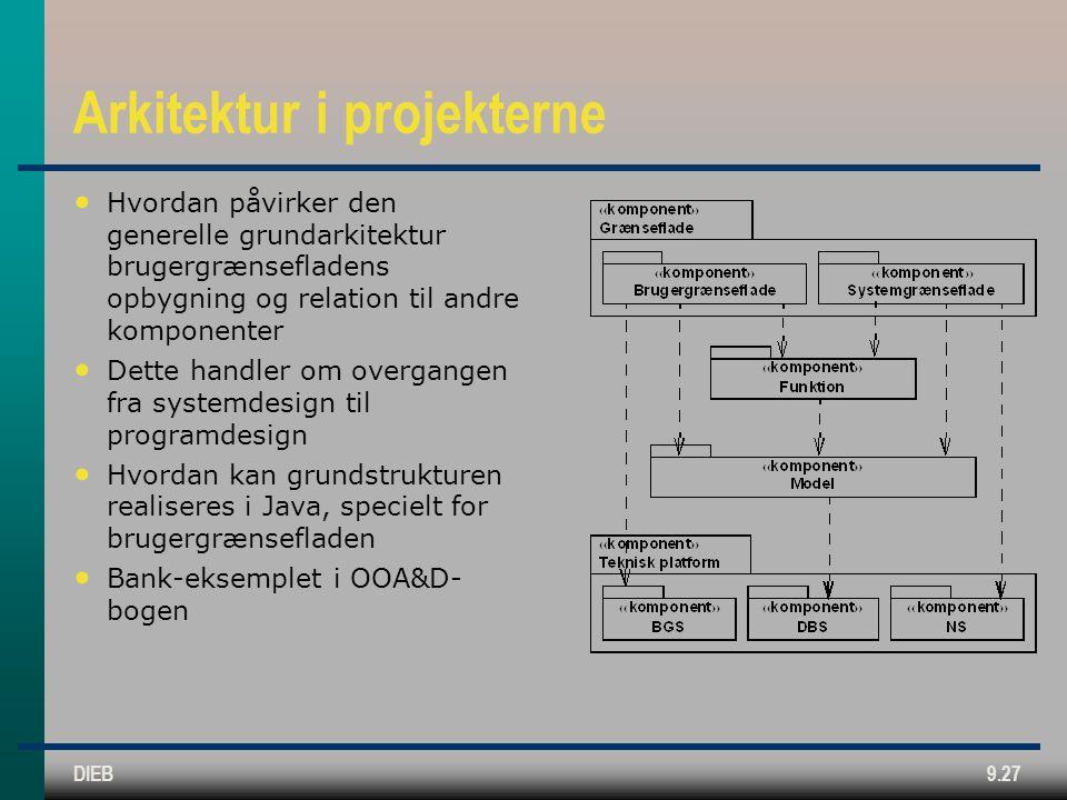 DIEB9.27 Arkitektur i projekterne • Hvordan påvirker den generelle grundarkitektur brugergrænsefladens opbygning og relation til andre komponenter • Dette handler om overgangen fra systemdesign til programdesign • Hvordan kan grundstrukturen realiseres i Java, specielt for brugergrænsefladen • Bank-eksemplet i OOA&D- bogen