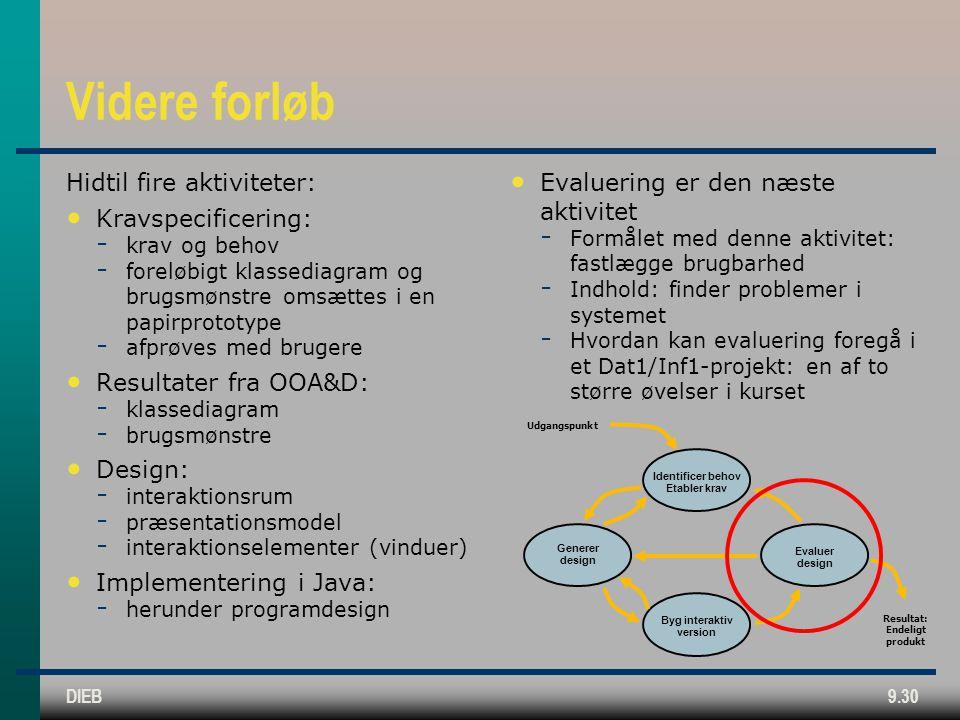 DIEB9.30 Videre forløb Hidtil fire aktiviteter: • Kravspecificering:  krav og behov  foreløbigt klassediagram og brugsmønstre omsættes i en papirprototype  afprøves med brugere • Resultater fra OOA&D:  klassediagram  brugsmønstre • Design:  interaktionsrum  præsentationsmodel  interaktionselementer (vinduer) • Implementering i Java:  herunder programdesign • Evaluering er den næste aktivitet  Formålet med denne aktivitet: fastlægge brugbarhed  Indhold: finder problemer i systemet  Hvordan kan evaluering foregå i et Dat1/Inf1-projekt: en af to større øvelser i kurset Identificer behov Etabler krav Generer design Byg interaktiv version Evaluer design Udgangspunkt Resultat: Endeligt produkt