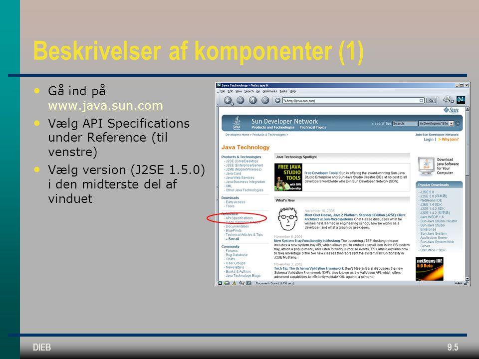 DIEB9.5 Beskrivelser af komponenter (1) • Gå ind på www.java.sun.com www.java.sun.com • Vælg API Specifications under Reference (til venstre) • Vælg version (J2SE 1.5.0) i den midterste del af vinduet