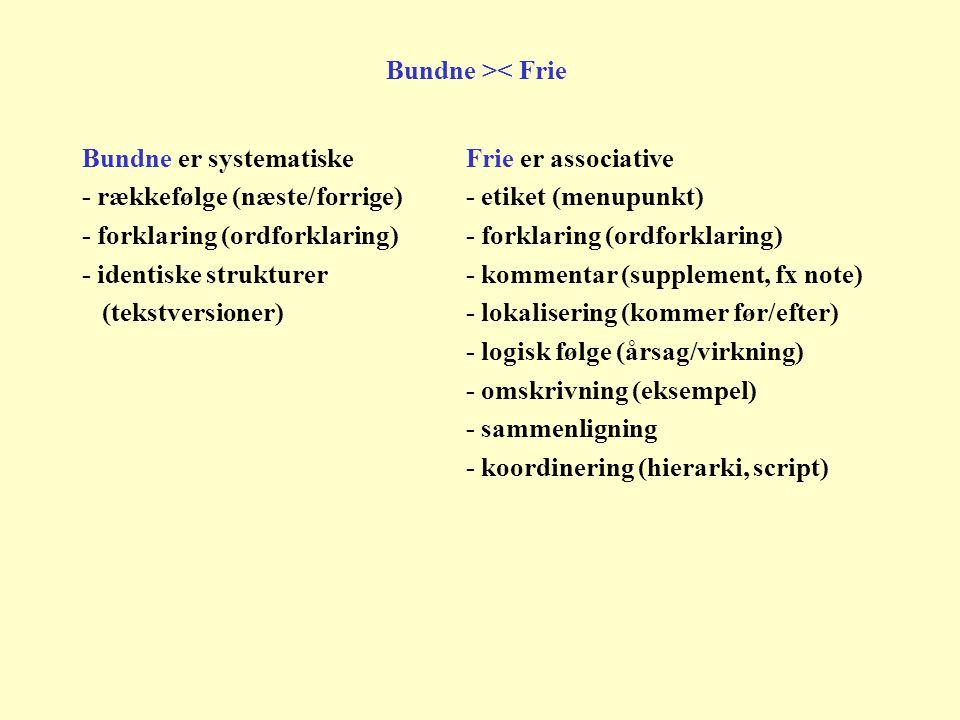 Bundne er systematiskeFrie er associative - rækkefølge (næste/forrige)- etiket (menupunkt)- forklaring (ordforklaring) - identiske strukturer - kommentar (supplement, fx note) (tekstversioner)- lokalisering (kommer før/efter) - logisk følge (årsag/virkning) - omskrivning (eksempel) - sammenligning - koordinering (hierarki, script) Bundne >< Frie