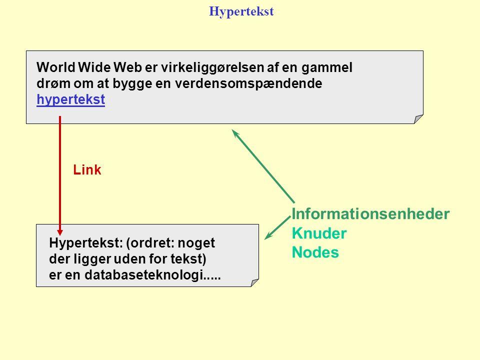 Informationsenheder Knuder Nodes World Wide Web er virkeliggørelsen af en gammel drøm om at bygge en verdensomspændende hypertekst Hypertekst: (ordret: noget der ligger uden for tekst) er en databaseteknologi.....