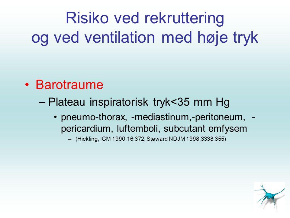 Risiko ved rekruttering og ved ventilation med høje tryk •Barotraume –Plateau inspiratorisk tryk<35 mm Hg •pneumo-thorax, -mediastinum,-peritoneum, -