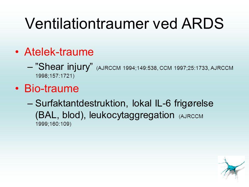 "Ventilationtraumer ved ARDS •Atelek-traume –""Shear injury"" (AJRCCM 1994;149:538, CCM 1997;25:1733, AJRCCM 1998;157:1721) •Bio-traume –Surfaktantdestru"
